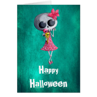 Little Miss Death with Halloween Ice Cream Greeting Cards