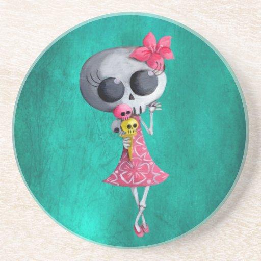 Little Miss Death with Halloween Ice Cream Drink Coaster