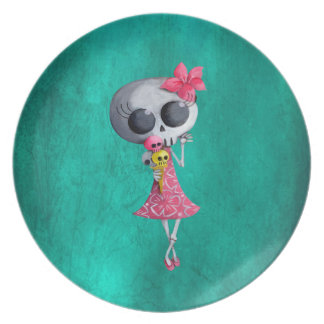 Little Miss Death with Halloween Ice Cream Dinner Plate