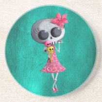 artsprojekt, halloween, emo gift, halloween girl, skull, ice cream, halloween gift, cute halloween, skeleton, cute skeleton, halloween illustration, halloween idea, trick or treat, halloween design, skeleton pin up, halloween pin up, skeleton girl, halloween ice cream, halloween present, emo present, skeleton present, skeleton gift, Descanso para copos com design gráfico personalizado