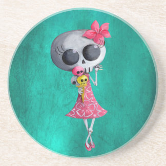 Little Miss Death with Halloween Ice Cream Drink Coaster