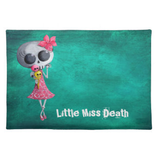 Little Miss Death with Halloween Ice Cream Cloth Place Mat