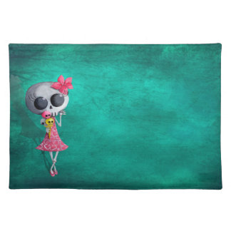 Little Miss Death with Halloween Ice Cream Cloth Placemat