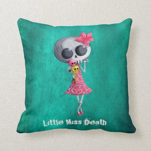 Little Miss Death with Halloween Ice Cream Throw Pillow