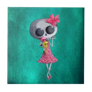 Little Miss Death with Halloween Ice Cream Ceramic Tile