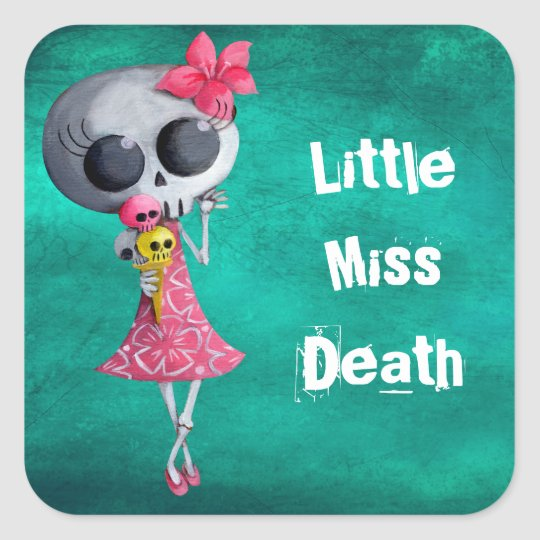 Little Miss Death with Ice Cream -custom text- Square Sticker