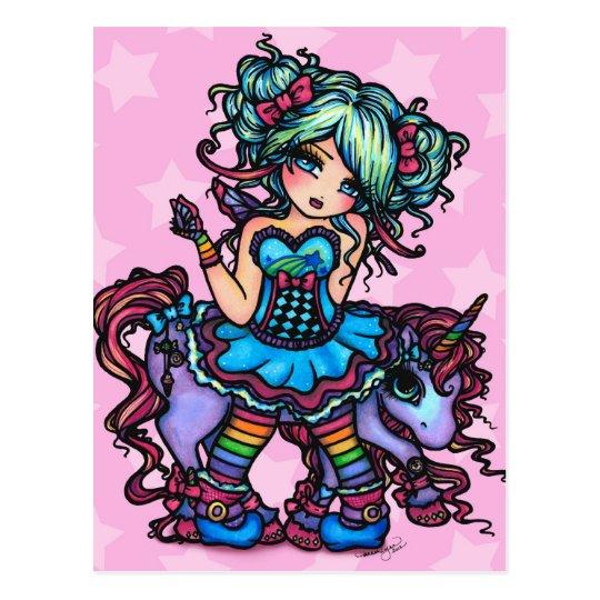 Little Miss Deelish Fairy Unicorn Princess Fantasy Postcard