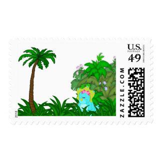 Little Miss Dino Postage Stamp