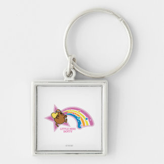 Little Miss Dotty | Chasing Rainbows Silver-Colored Square Keychain