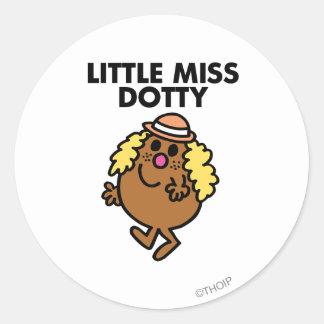 Little Miss Dotty Waving Classic Round Sticker