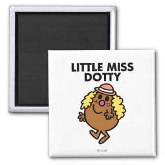 Little Miss Dotty Waving 2 Inch Square Magnet