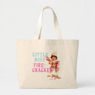 Little Miss Firecracker Vintage Americana Large Tote Bag