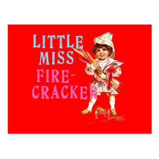Little Miss Firecracker Vintage Americana Postcard