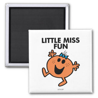 Little Miss Fun Waving Joyously 2 Inch Square Magnet