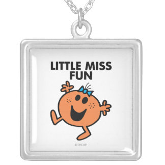 Little Miss Fun Waving Joyously Square Pendant Necklace