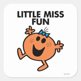 Little Miss Fun Waving Joyously Square Sticker
