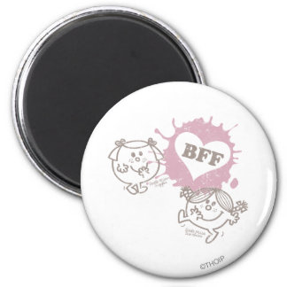 Little Miss Giggles & Little Miss Sunshine   BFFs 2 Inch Round Magnet