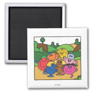 Little Miss Group Of Friends 2 Inch Square Magnet