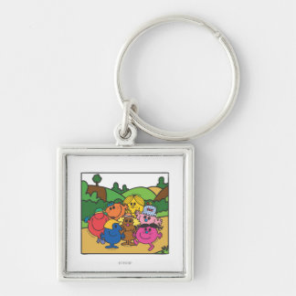 Little Miss Group Of Friends Silver-Colored Square Keychain