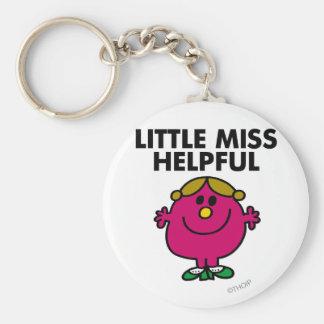 Little Miss Helpful | Black Lettering Basic Round Button Keychain