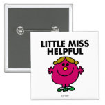 Little Miss Helpful   Black Lettering 2 Inch Square Button