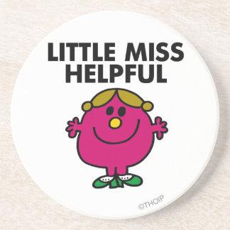 Little Miss Helpful | Black Lettering Drink Coaster