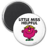 Little Miss Helpful   Black Lettering 2 Inch Round Magnet