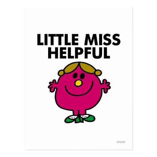 Little Miss Helpful | Black Lettering Postcard