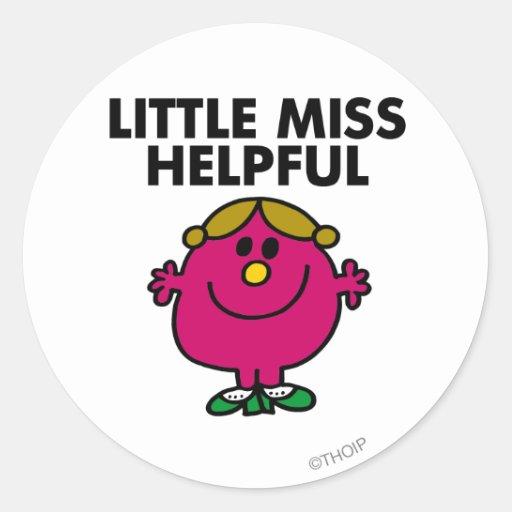 Little Miss Helpful   Black Lettering Classic Round Sticker