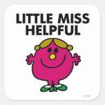 Little Miss Helpful   Black Lettering Square Sticker