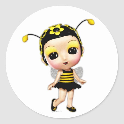 Little Miss Lady Bumblebee Classic Round Sticker