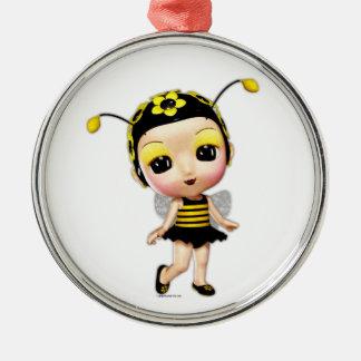 Little Miss Lady Bumblebee Metal Ornament