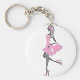 Little Miss Lady Shopper Dressed In Pink Basic Round Button Keychain