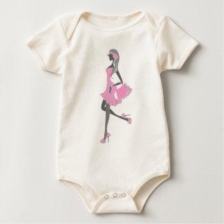 Little Miss Lady Shopper Dressed In Pink Romper