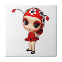 Little Miss Ladybug Ceramic Tile