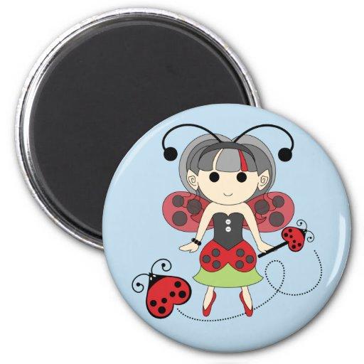 Little Miss Ladybug Fairy Party Favor Magnet Blue