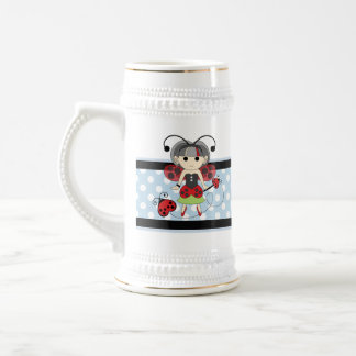 Little Miss Ladybug Fairy Princess and Bug Wand Beer Stein