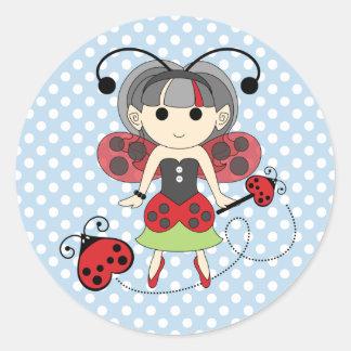 Little Miss Ladybug Fairy Princess and Bug Wand Classic Round Sticker