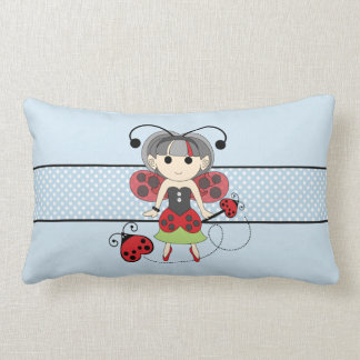 Little Miss Ladybug Fairy Princess and Bug Wand Throw Pillow