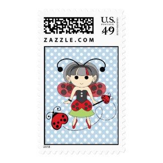 Little Miss Ladybug Fairy Princess and Bug Wand Postage Stamp