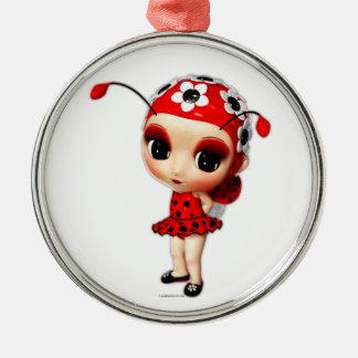 Little Miss Ladybug Metal Ornament