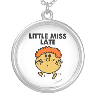 Little Miss Late | Black Lettering Round Pendant Necklace
