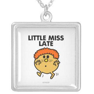 Little Miss Late | Black Lettering Square Pendant Necklace