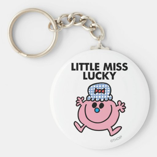 Little Miss Lucky | Black Lettering Basic Round Button Keychain