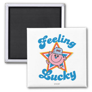 Little Miss Lucky Star 2 Inch Square Magnet