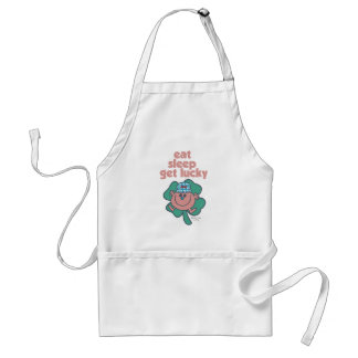 Little Miss Lucky's Motto | Green clover Adult Apron