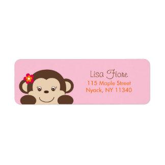 Little Miss Monkey Baby Shower Address Labels