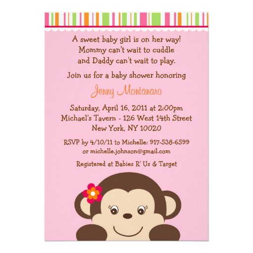 little miss monkey baby shower invitations 5 x 7 invitation card