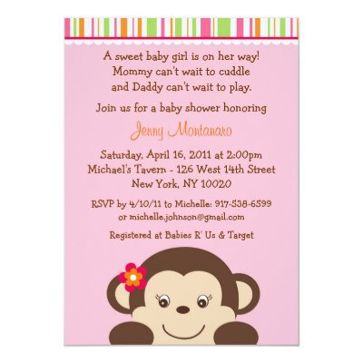 miss monkey baby shower invitations girl | zazzle, Baby shower invitations