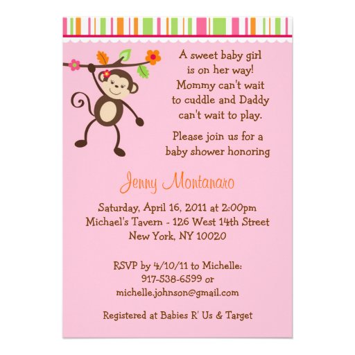 little miss monkey baby shower invitations zazzle